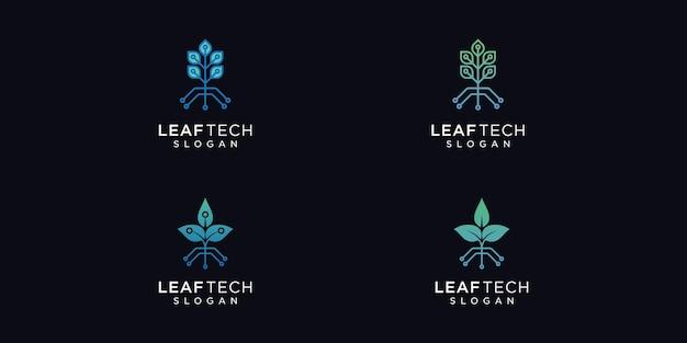 Набор креативных минималистских шаблонов дизайна логотипа leaf tech