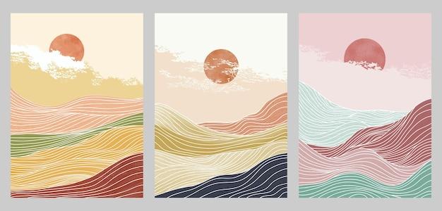 線形スタイルの創造的なミニマリストのモダンなイラストのセット