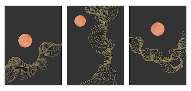 創造的なミニマリストのモダンなラインアートパターンのセット。抽象的な波の背景の風景。スカイライン、波、海のオブジェクト。ベクトルイラスト