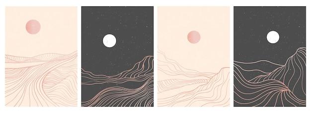 Набор творческой минималистской современной печати искусства линии. абстрактные горные современные эстетические пейзажи. с горы, лес, море, горизонт, волна.