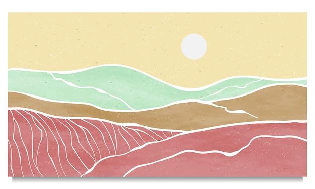 Набор творческой минималистской современной штриховой печати. абстрактные горы современные эстетические фоны пейзажи. с холма, моря, горизонта, волны. векторные иллюстрации