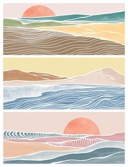 Набор творческих минималистичных современных штриховых рисунков. абстрактные океанские волны современные эстетические фоны пейзажи. с морем, горизонтом, волной. векторные иллюстрации