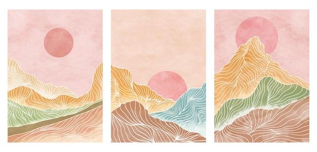 創造的なミニマリストのモダンなライン波パターンベクトルアートプリントのセットです。抽象的な山の現代的な美的背景の風景。山、森、海、スカイライン、波。ベクトルイラスト