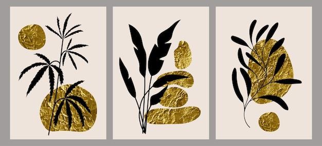 装飾的な枝、葉、花、抽象的な黄金の斑点を持つ創造的なミニマルな手描きイラストのセットです。はがき、ポスター、プラカード、パンフレット、表紙デザインに。