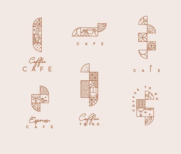 베이지색 배경에 평평한 선 스타일의 창의적인 현대 아트 데코 커피 요소 세트.