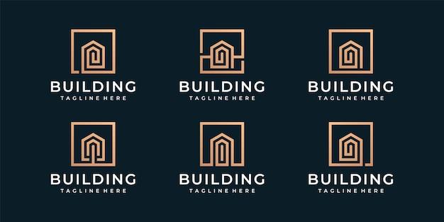 Набор креативных монограмм, строящих вектор логотипа недвижимости