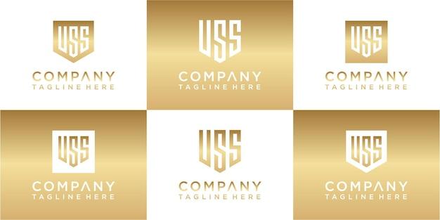 Набор креативного дизайна логотипа золота с монограммой