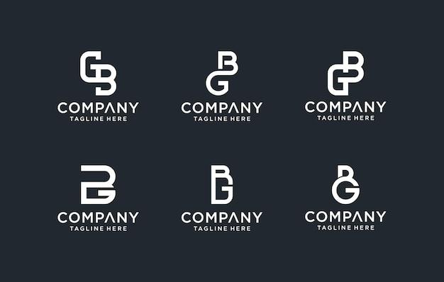 創造的なモノグラム頭文字gbロゴテンプレートのセット