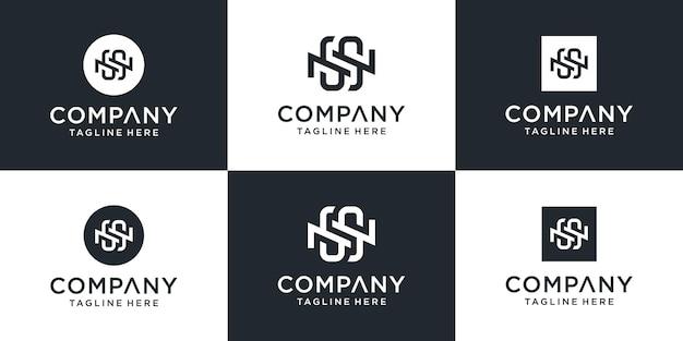 Набор креативных монограмм начальной буквы ns шаблона логотипа