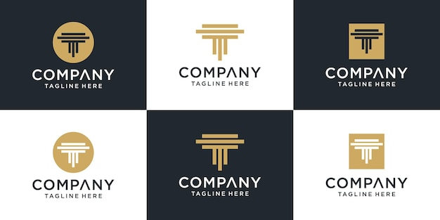 Набор творческих монограмм буквица т тм логотип шаблон