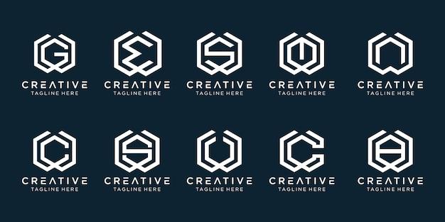 クリエイティブなモノグラムの初期wロゴテンプレートのセット。ファッション、スポーツ、建物、シンプルなビジネスのためのアイコン。