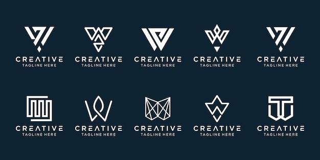 Набор творческих монограмм начальный шаблон логотипа w.