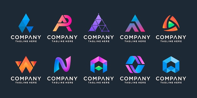 創造的なモノグラム文字aロゴデザインインスピレーションのセット
