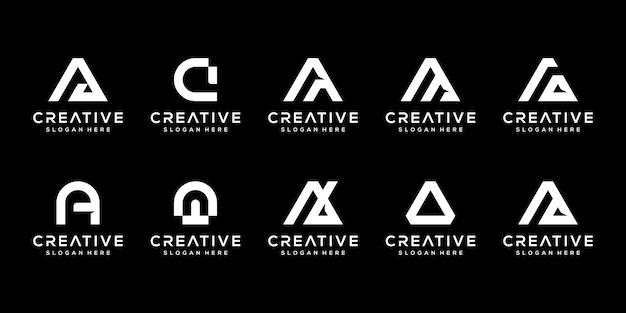 創造的なモノグラム文字のロゴデザインテンプレートのセット。ロゴは会社を建てるために使用することができます。