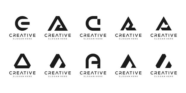 創造的なモノグラム文字のロゴデザインテンプレートのセット。