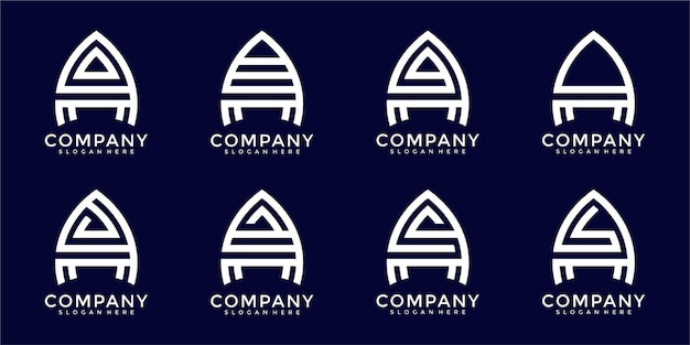 크리에이 티브 모노그램 문자 로고 디자인 템플릿 세트