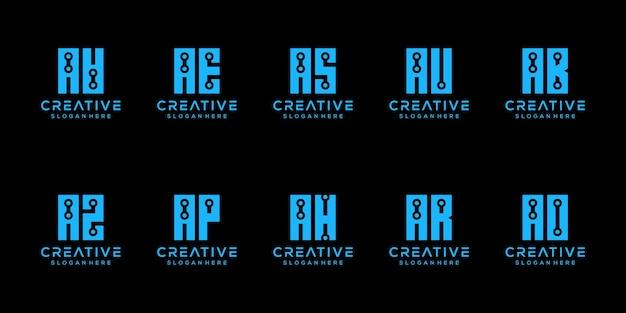 創造的なモノグラム文字のロゴデザインテンプレートのセット