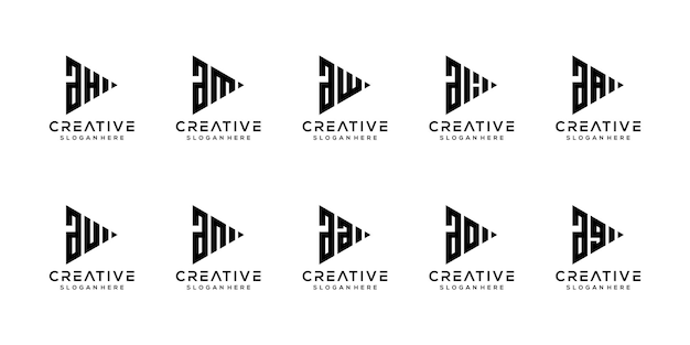 Набор творческих монограмм письмо шаблон дизайна логотипа
