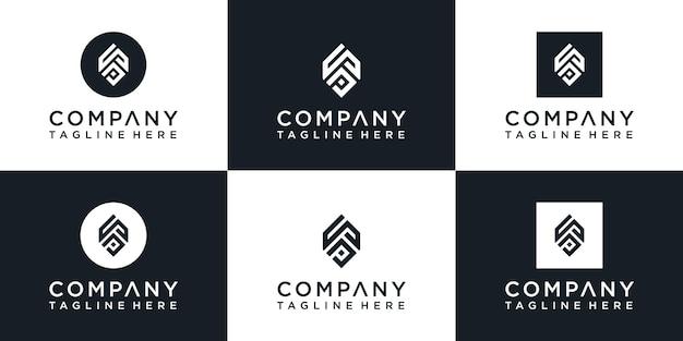 창조적 인 모노그램 문자 로고 디자인 세트