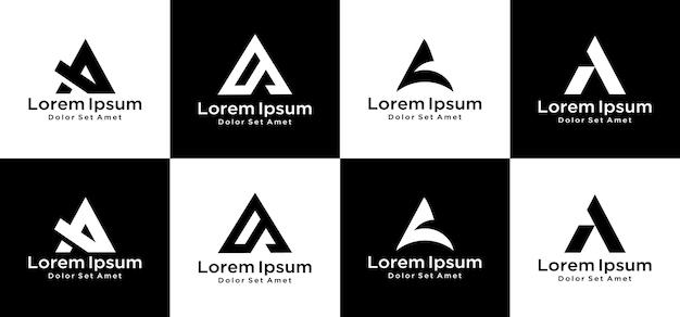 창의적인 모노그램 문자 A 로고 디자인 세트 프리미엄 벡터
