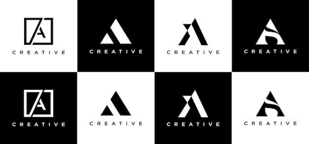 창의적인 모노그램 문자 a 로고 디자인 세트