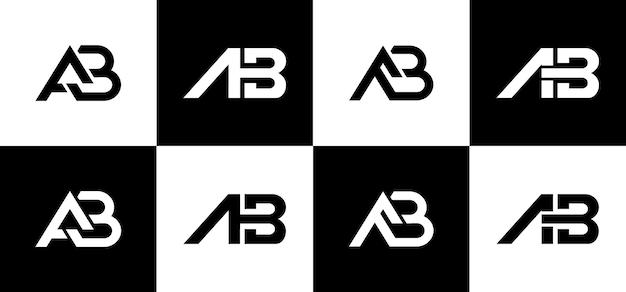 창의적인 모노그램 문자 ab 로고 디자인 세트