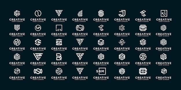 創造的なモノグラム文字抽象的なロゴデザインテンプレートのセットです。