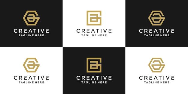 창조적 인 모노그램 편지 ae 로고 추상적 인 디자인 영감의 세트