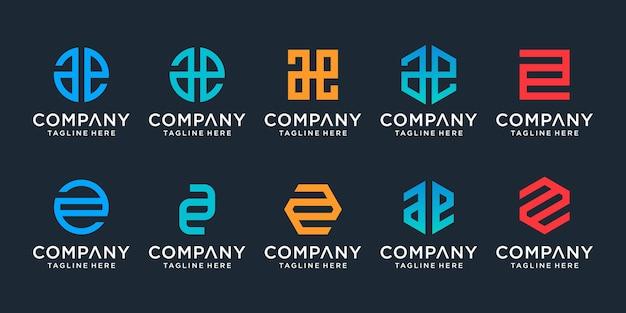 創造的なモノグラム文字aeロゴテンプレートのセット。ロゴは会社を建てるために使用することができます。