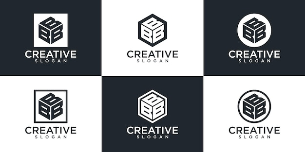 창의적인 모노그램 문자 b 로고 디자인 세트