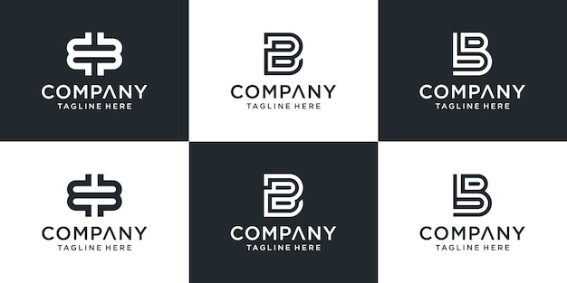 창의적인 모노그램 문자 bb 로고 디자인 영감 세트