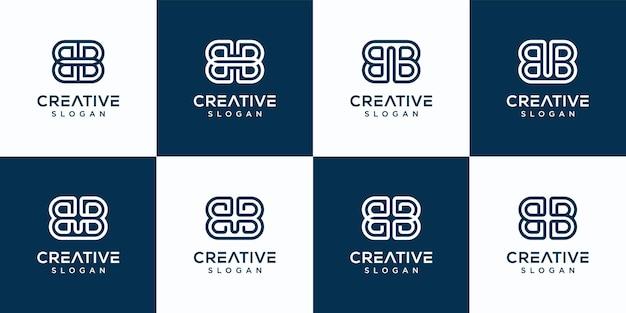 Набор творческих вензеля письмо bb шаблон логотипа. Premium векторы