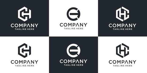 Набор творческих вензеля буква ch логотип абстрактный дизайн вдохновение