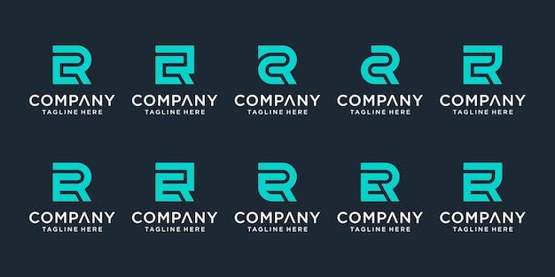창의적인 모노그램 문자 cr 및 er 로고 템플릿 집합입니다. 로고는 비즈니스 및 건축 회사에 사용할 수 있습니다.