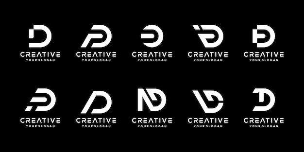 Набор творческих вензеля буква d логотип дизайн шаблона. логотип может быть использован для строительной компании.