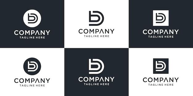 창의적인 모노그램 문자 db 로고 템플릿 집합입니다. 로고는 비즈니스 및 건축 회사에 사용할 수 있습니다.