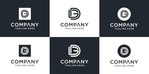 창의적인 모노그램 문자 dg 로고 템플릿 집합입니다. 로고는 비즈니스 및 건축 회사에 사용할 수 있습니다.