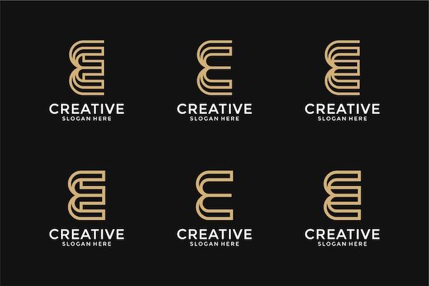 크리에이 티브 모노그램 문자 e 로고 디자인 서식 파일 세트