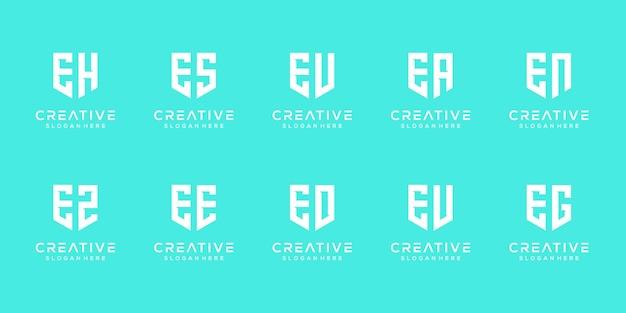 창의적인 모노그램 문자 e 로고 디자인 서식 파일의 설정