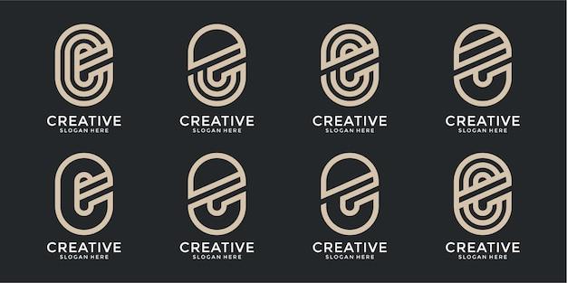 創造的なモノグラム文字eロゴテンプレートのセット