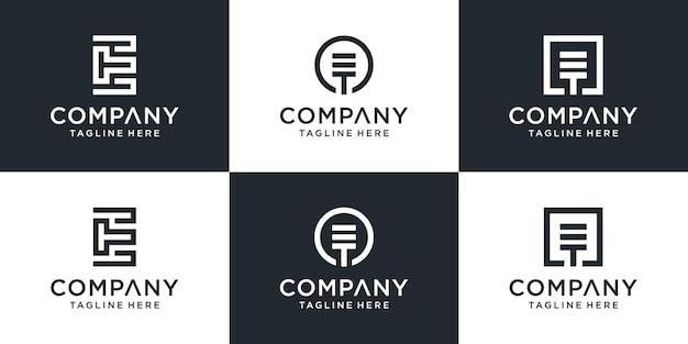 Набор творческих вензелей письмо et логотип абстрактный дизайн вдохновение