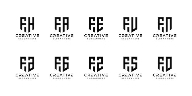 Набор творческих вензелей буква f логотип дизайн шаблона