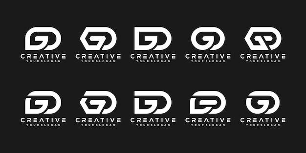 創造的なモノグラム文字g、dロゴデザインテンプレートのセット。ロゴは会社を建てるために使用することができます。