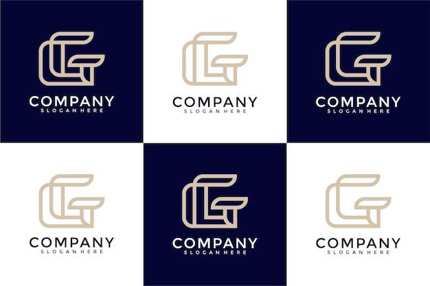 Набор креативных монограмм буква g дизайн логотипа вдохновение