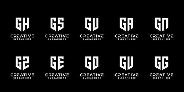 창조적 인 모노그램 편지 g 로고 디자인 서식 파일의 설정