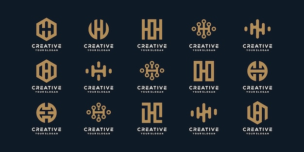 創造的なモノグラム文字hロゴデザインテンプレートのセット