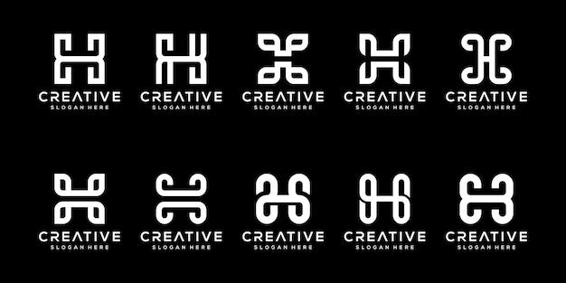 創造的なモノグラム文字hロゴデザインテンプレートのセットです。