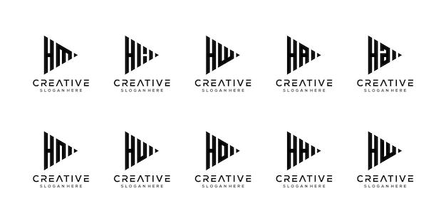 Набор творческих вензелей буква h логотип дизайн шаблона