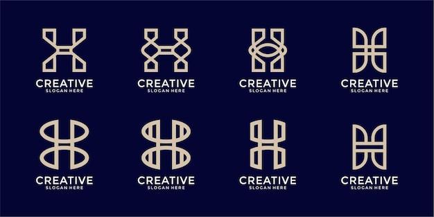 Набор креативных монограмм буква h логотип шаблон