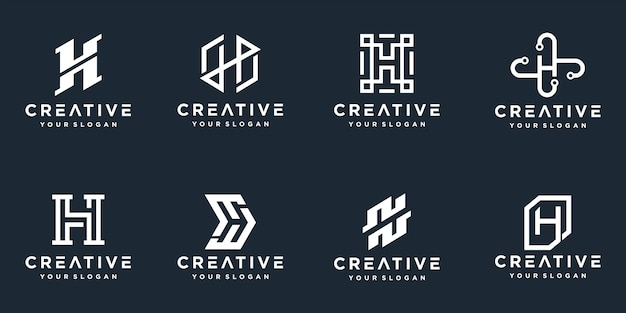 Набор творческих вензелей буква h логотипов